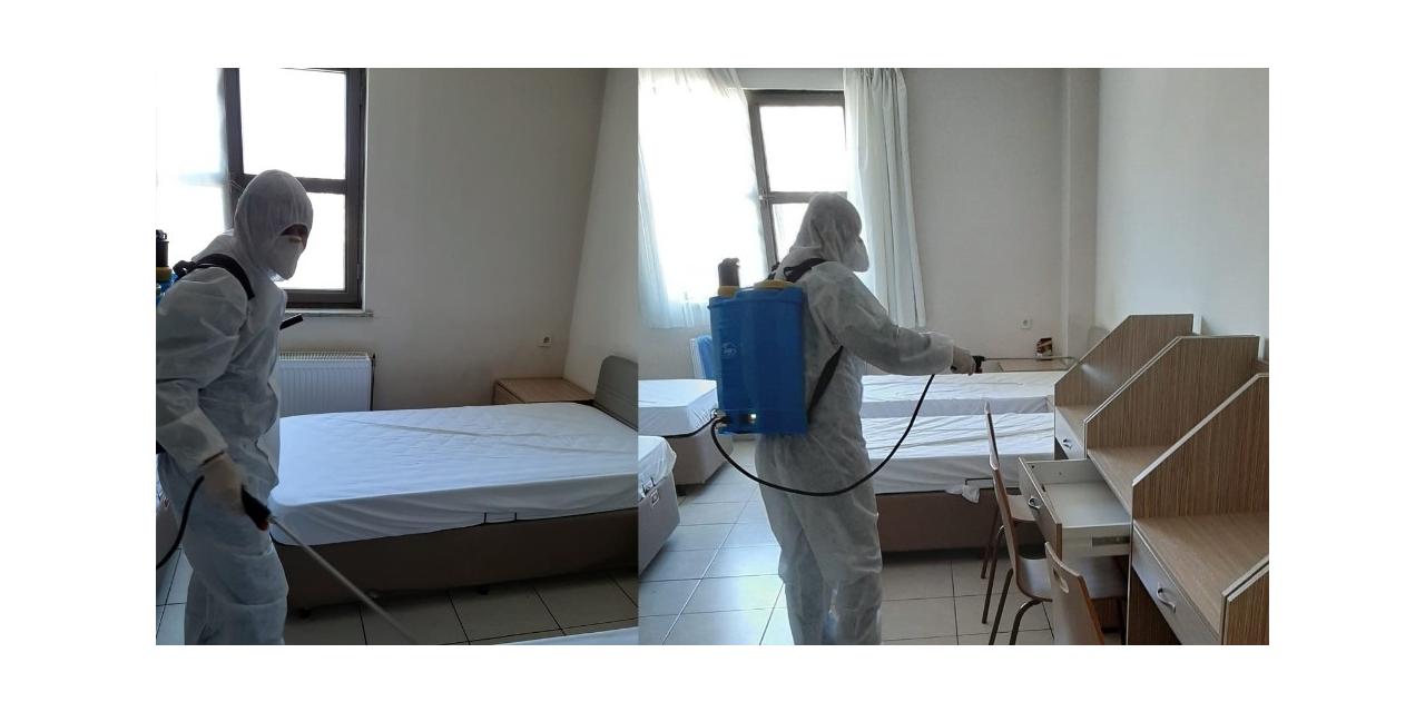 Düzce'de ki KYK yurtları dezenfekte edildi