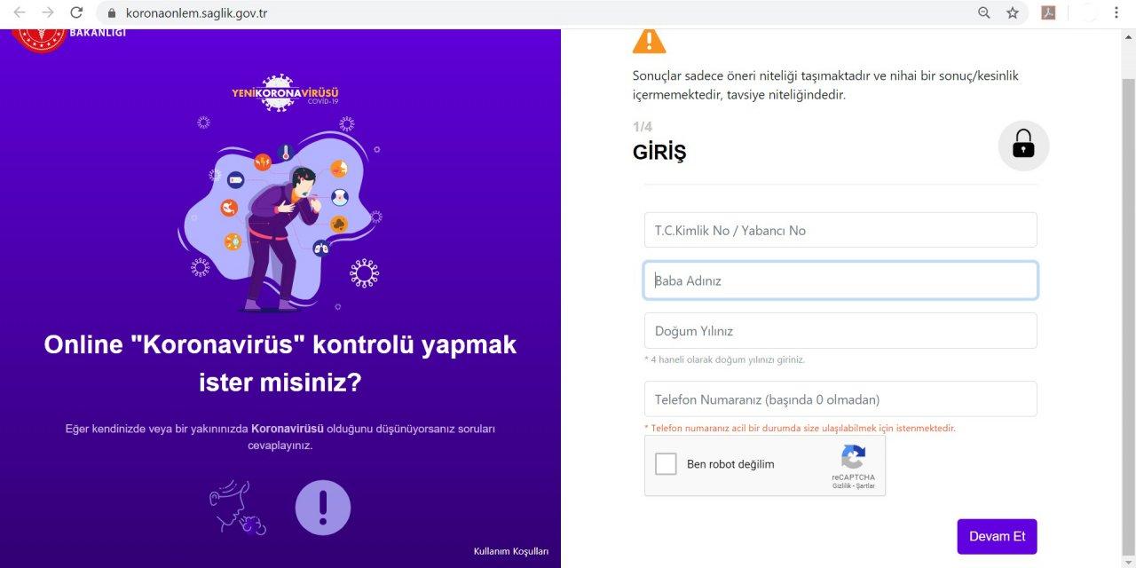 """Sağlık Bakanlığından """"Korona Önlem"""" uygulaması ile online risk belirleme"""