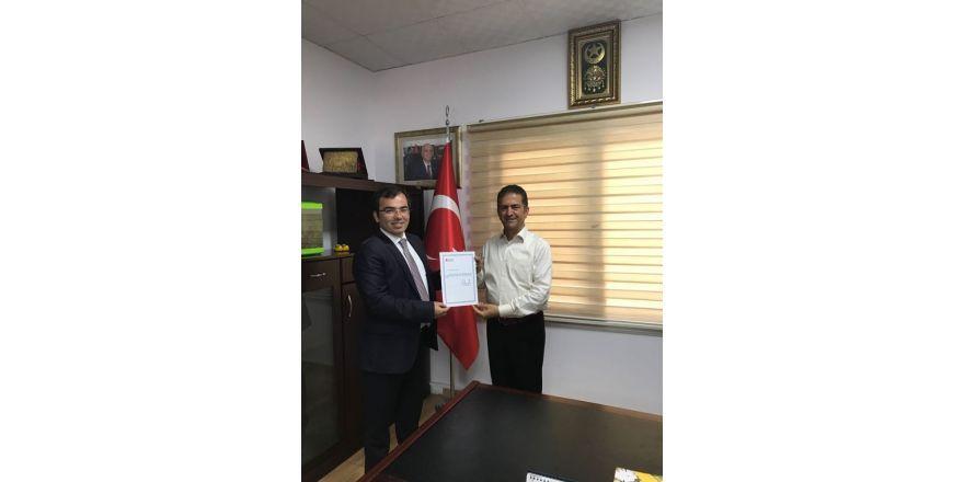 Tunalı'dan YZO Başkanı Doğan'a teşekkür belgesi