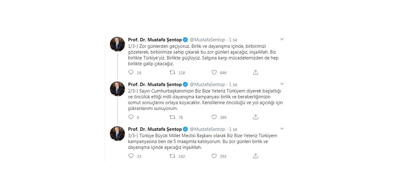 TBMM Başkanı Şentop'tan, 'Biz Bize Yeteriz Türkiyem'kampanyasına destek