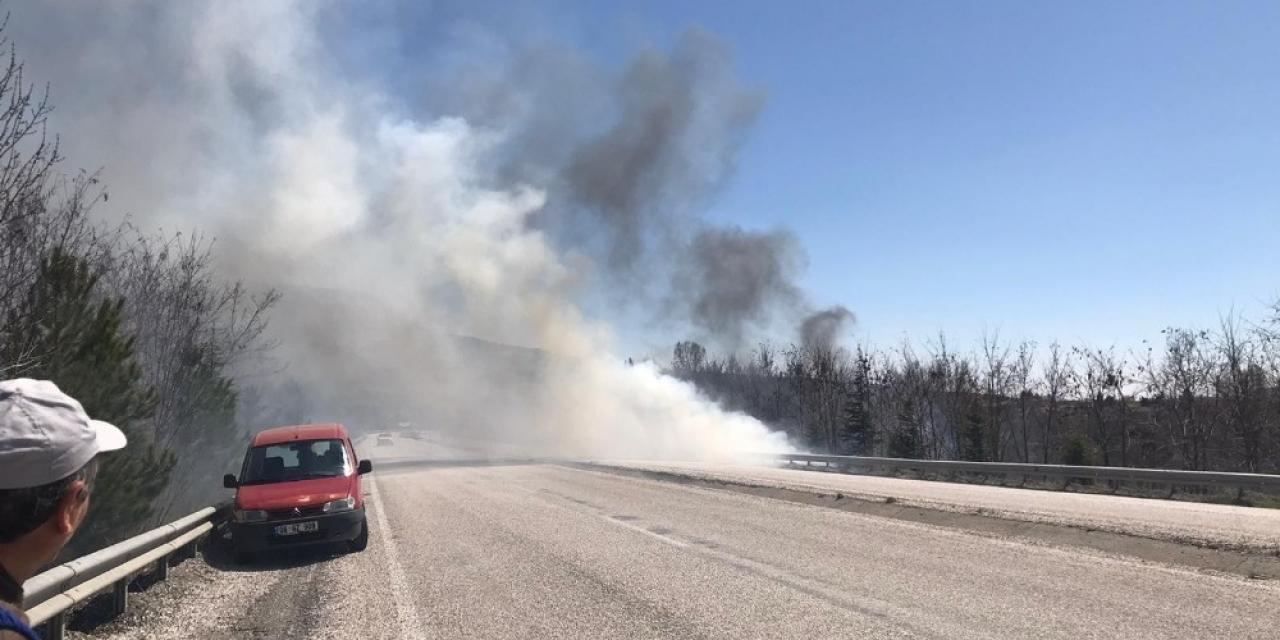 Kuru otlar yangına neden oldu