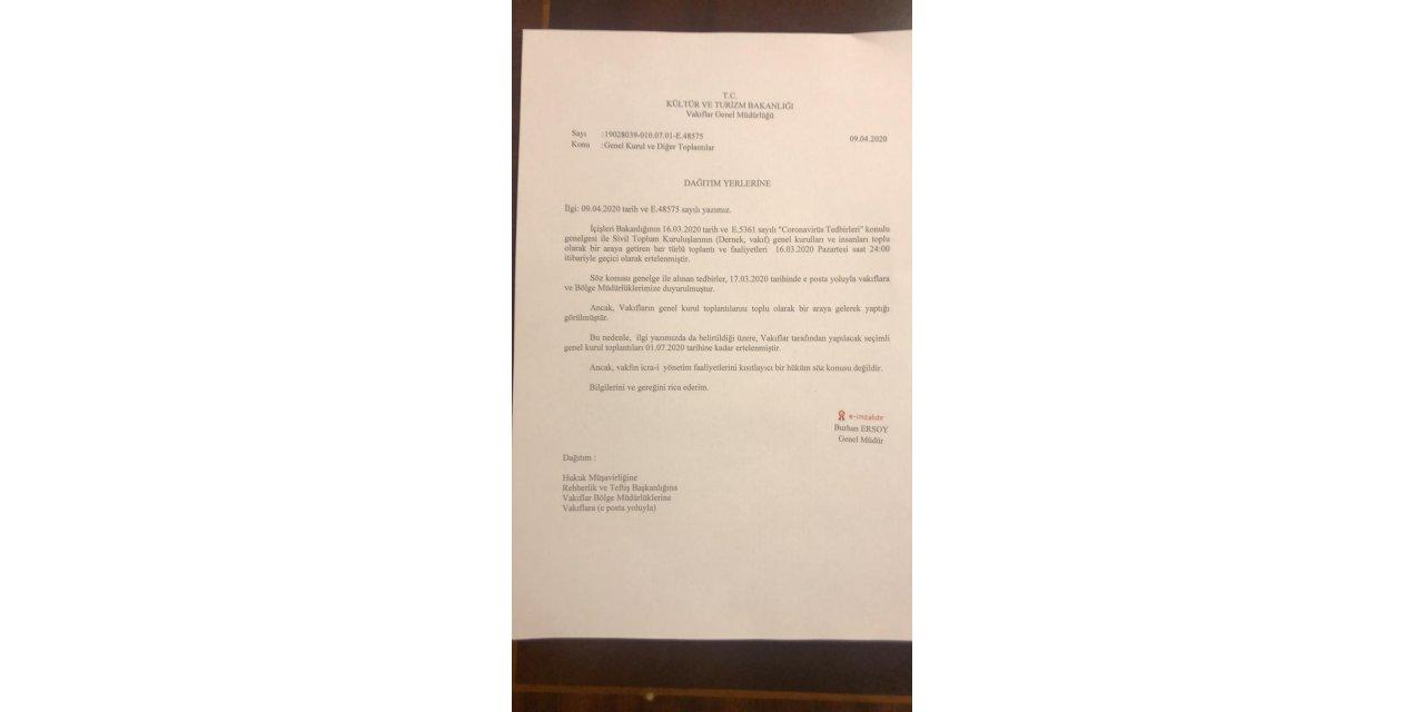 Vakıfların seçimli genel kurulları, 1 Temmuz'a ertelendi