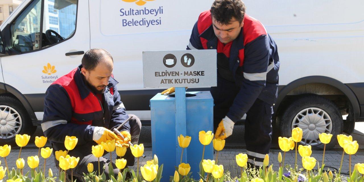 Sultanbeyli'de kullanılan maske ve eldivenler için önlem alındı