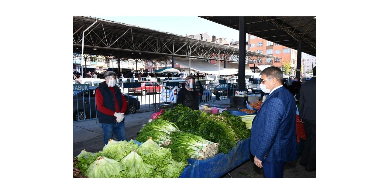 Vali Gürel halk pazarındaki tedbirleri denetledi