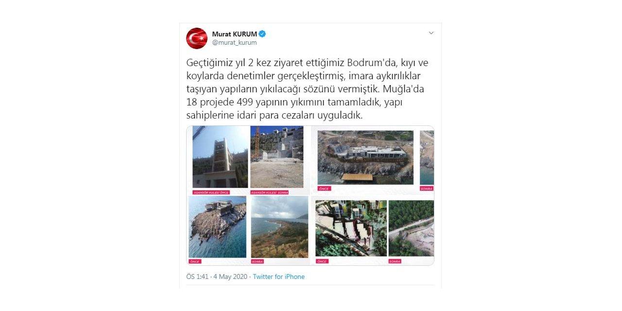 Bakan Kurum: Muğla'da 18 projede 499 yapının yıkımını tamamladık