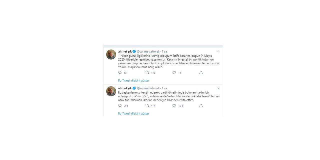 Ahmet Şık, demokratik tutumu nedeniyle eleştirdiği HDP'den istifa etti