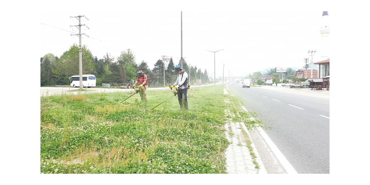 Kaynaşlı Belediyesi D-100'de refüjlerin bakımı yapılıyor