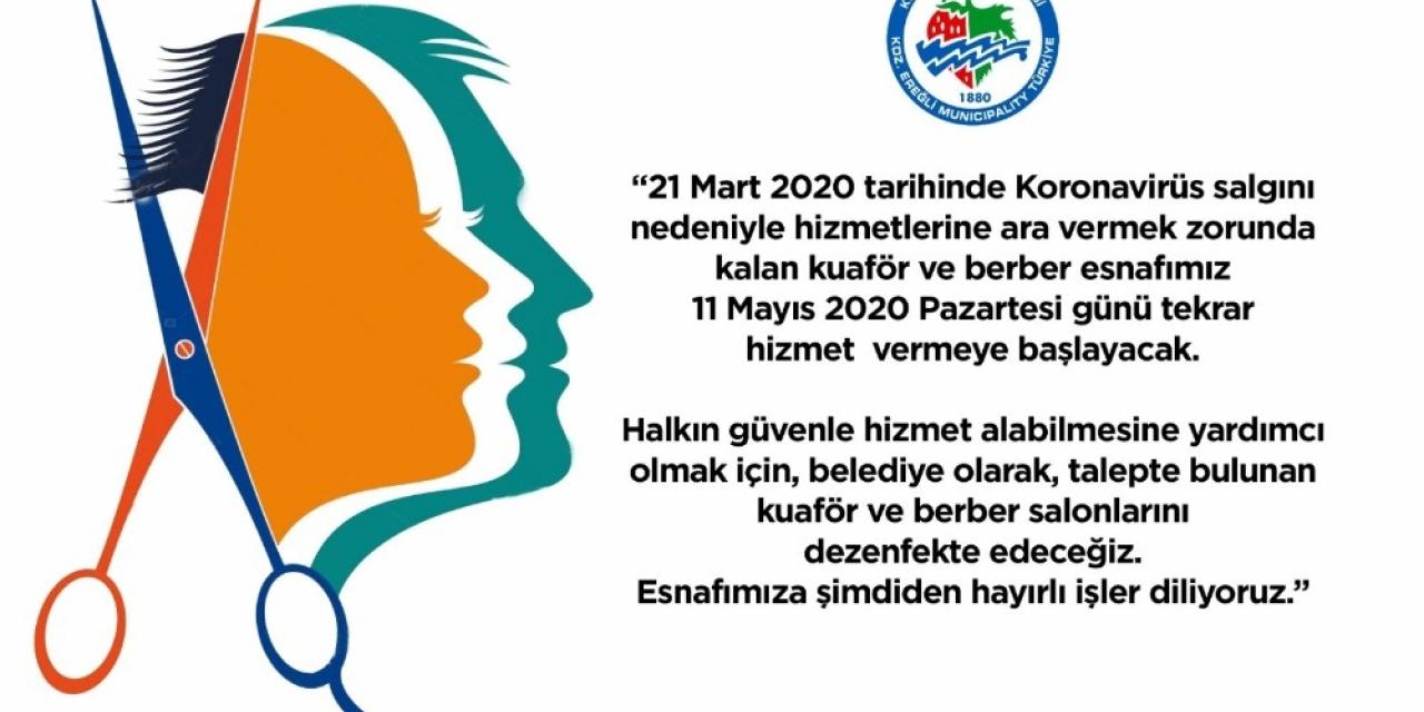 Kdz. Ereğli Belediyesi kuaför ve berberleri dezenfekte edecek