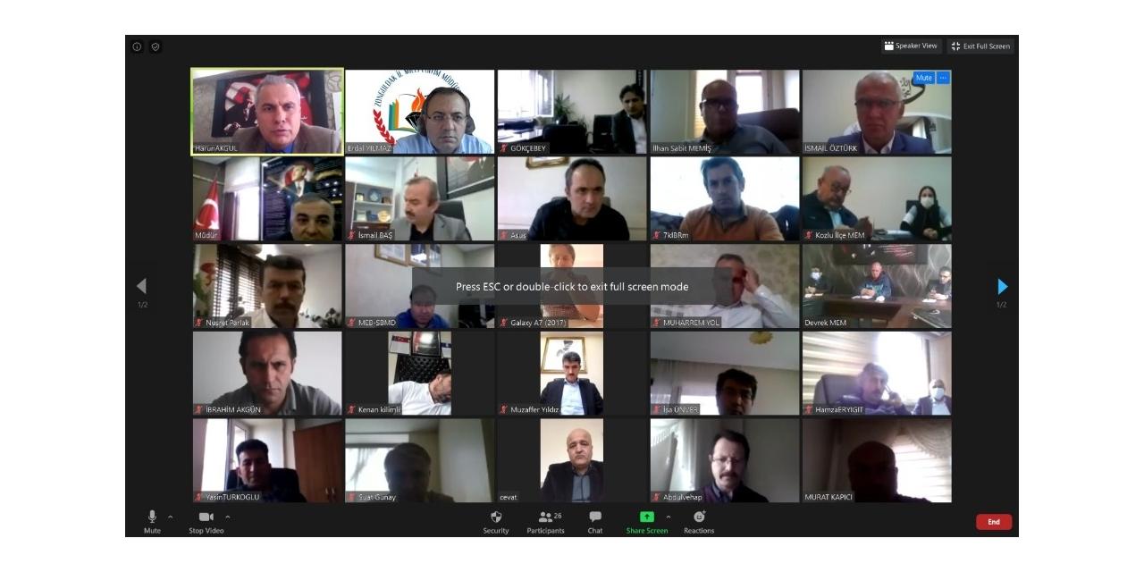 İl Milli Eğitim müdürü şube müdürleri ile telekonferansla görüştü