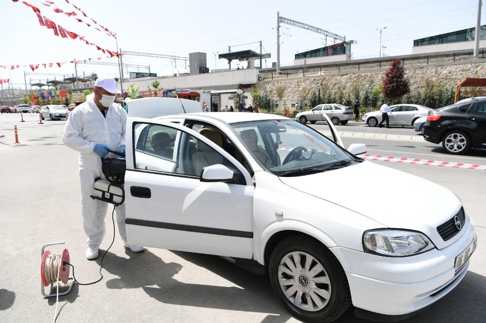 Mamak Belediyesi araçlar için dezenfekte istasyonu kurdu