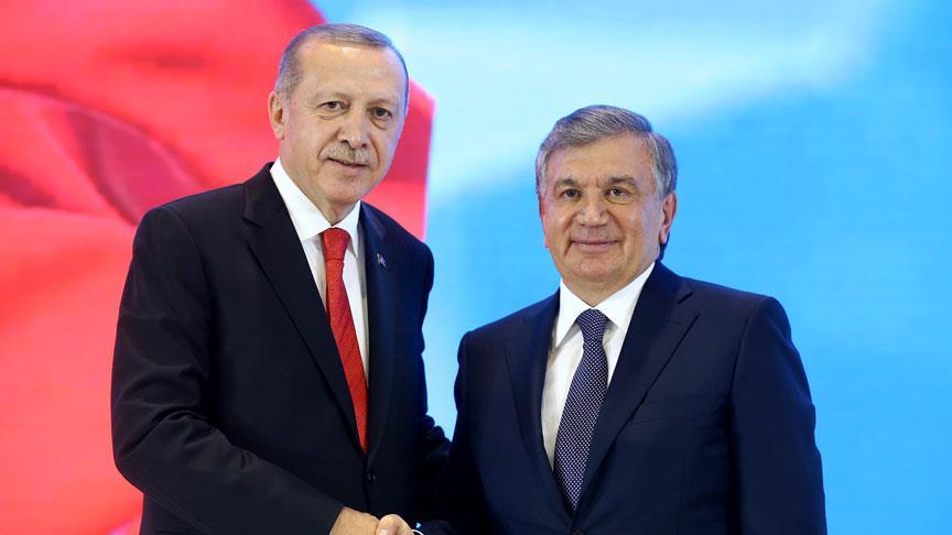Cumhurbaşkanı Erdoğan, Şevket Mirziyoyev ile görüştü