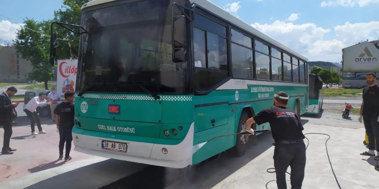Bu işletmede halk otobüsleri dezenfekte edilecek
