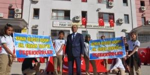 Şanlıurfalı Liseliler'den Kaman Belediye Başkanı Talu'ya teşekkür pankartı