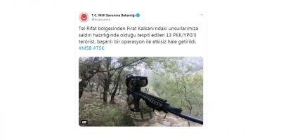 MSB: 13 PKK/YPG'li terörist etkisiz hale getirildi