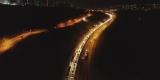 TEM'de bayram yoğunluğu gece saatlerinde havadan görüntülendi