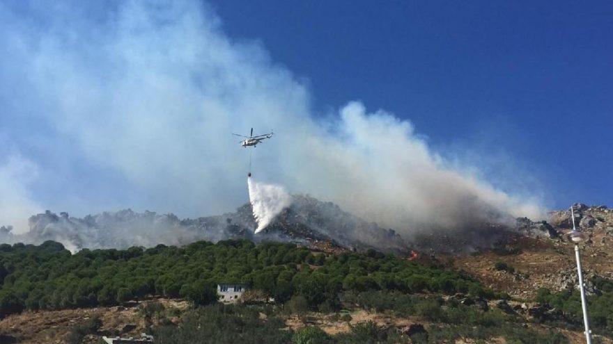 Marmara Adası'nda çıkan ve kontrol altına alınan yangın yeniden başladı