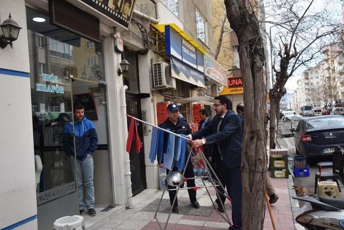 Yunusemre Belediyesinden kaldırım işgali denetimi