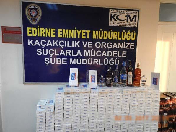 Edirne'de kaçak sigara ve içki operasyonu