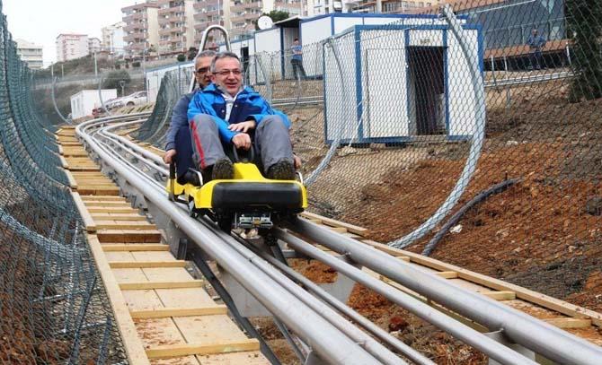 Başkan Köşker, dağ kızağında ilk test sürüşünü yaptı