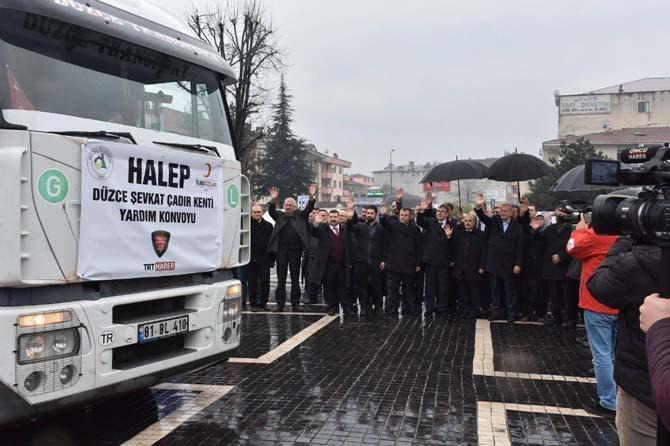 Düzce'den Halep'e yardım için 2 tır yola çıktı