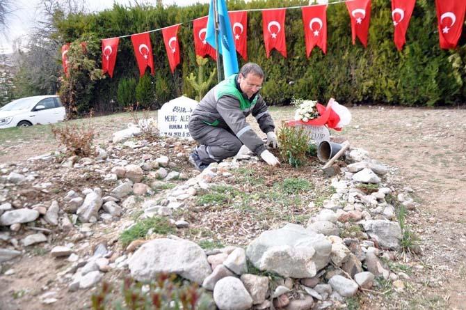 Gölbaşı'nda şehit mezarları bakımdan geçirildi