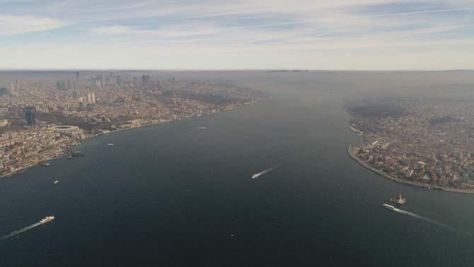 İstanbul'u kaplayan yoğun sis havadan görüntülendi