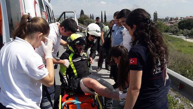 Söke'de Motosiklet Kazası Ucuz Atlatıldı