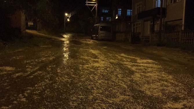Sinop'ta dolu yağışı