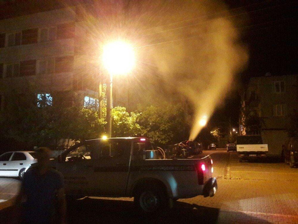 Kırkağaç'ta haşereyle mücadele gece de devam ediyor