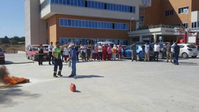 Ayvacık Devlet Hastanesi'nde yangın tatbikatı