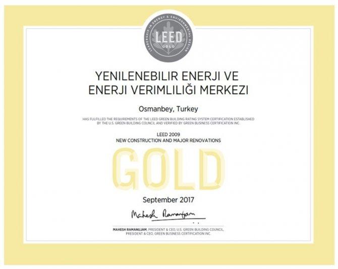 GAP Yenev'e uluslararası altın sertifika ödülü