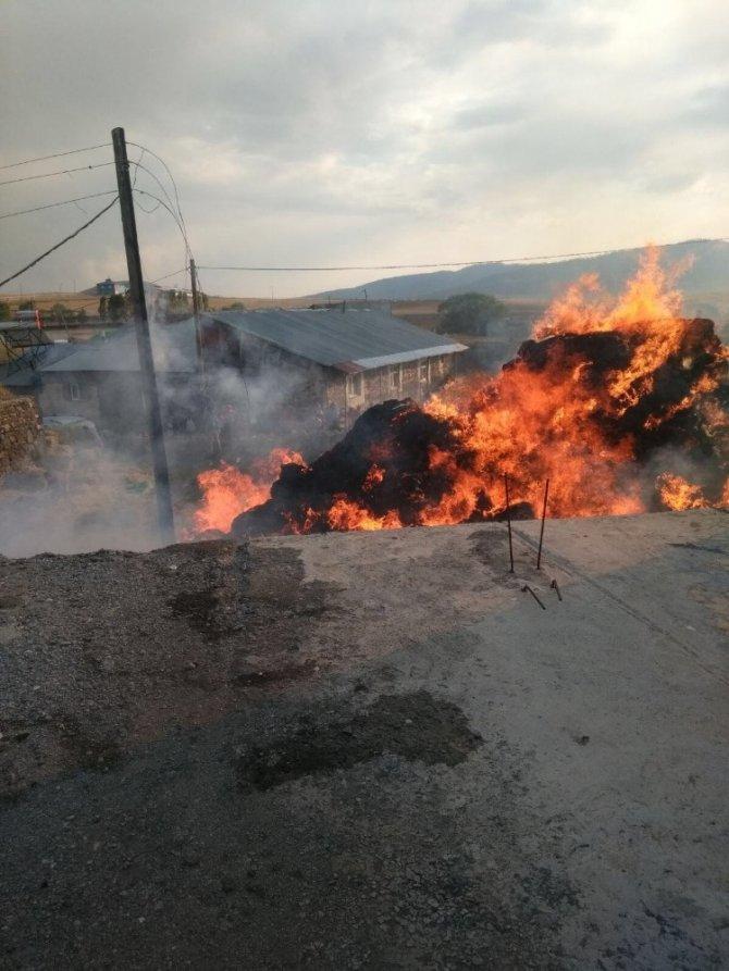 Sarıkamış'ta, 3 bin balya ot yandı