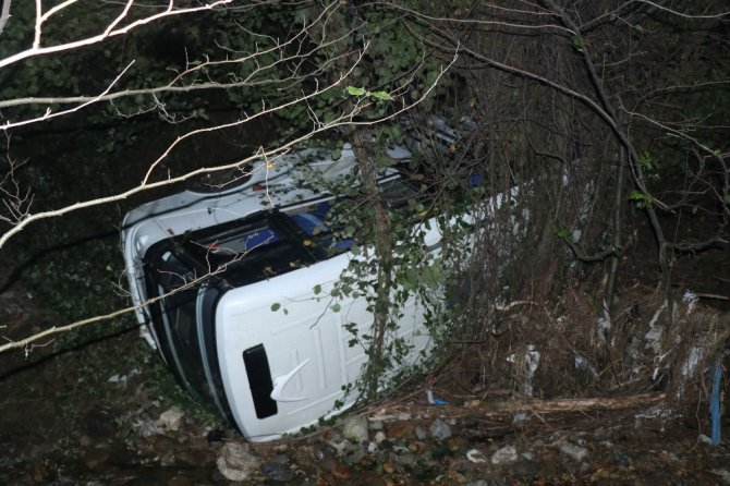 Yolcu minibüsü dereye uçtu: 1 yaralı