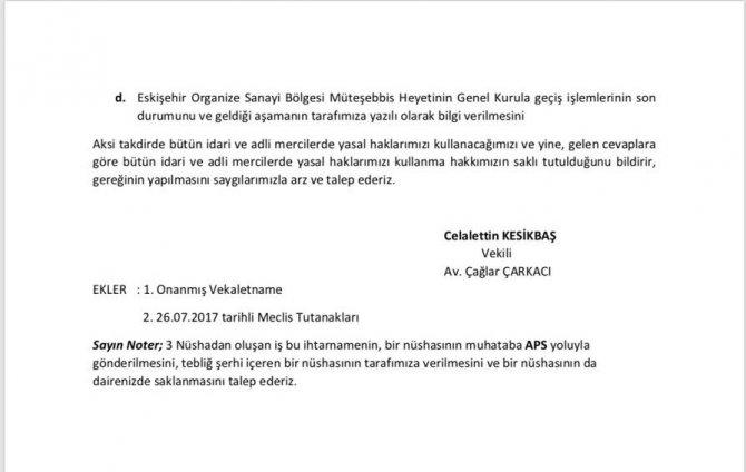 Kesikbaş'tan OSB Başkanlığı'na dilekçe