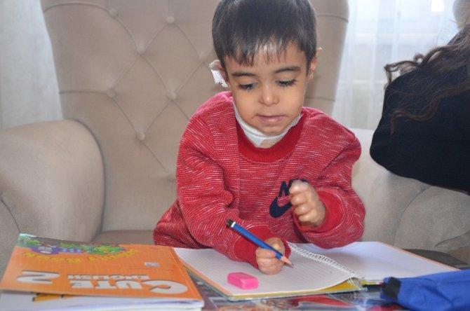 Evde eğitim alan minik Efe'nin karne sevinci