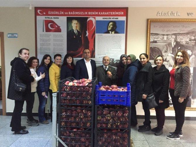 Ara öğünün önemine dikkat çekmek için 240 kilo elma dağıttılar