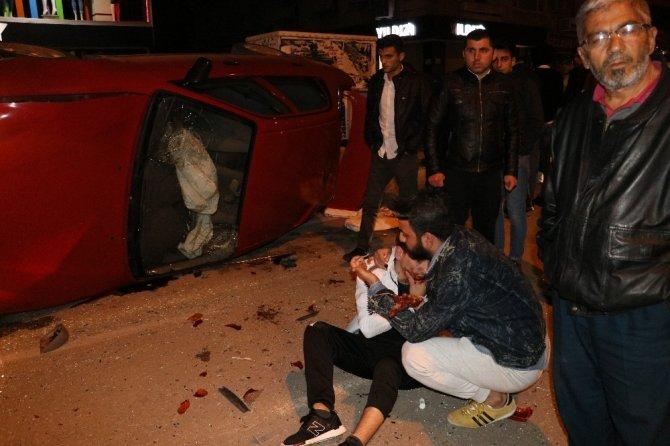 Takla atan otomobil polis aracına çaparak durabildi: 1 yaralı
