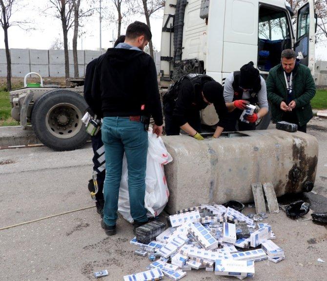 Tırın mazot deposundan 5 bin paket kaçak sigara çıktı