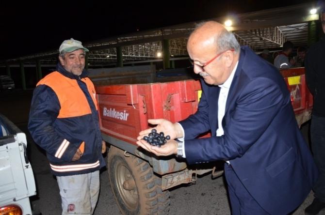 Başkan Sargın zeytin alım merkezlerini ziyaret etti