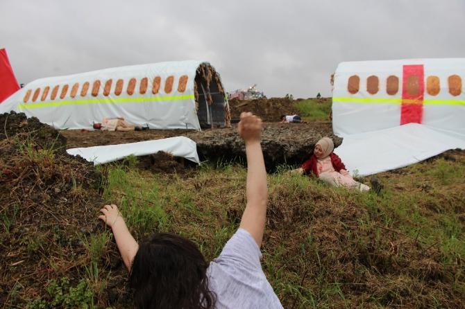 Trabzon Havalimanı'ndaki uçak kazası tatbikatı gerçeğini aratmadı