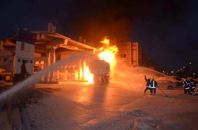 Suudi Arabistan'da benzin istasyonunda korkutan yangın