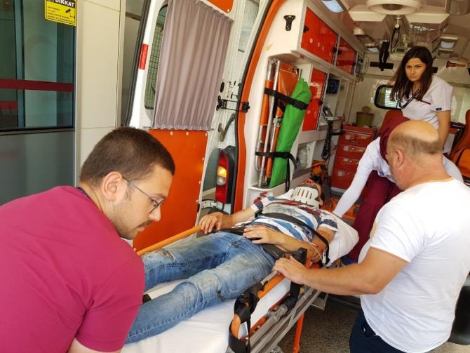 Kopan bacağıyla hastaneye sevk edildi