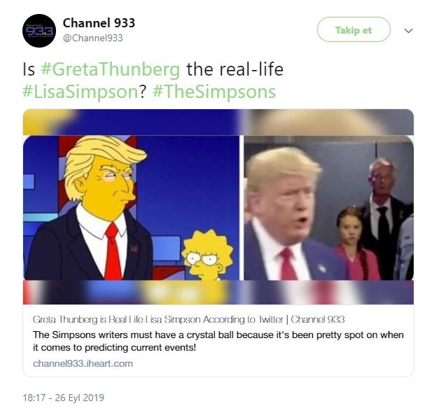 Simpsons Greta Thunberg Donald Trump konuşmasını tahmin etti mi?