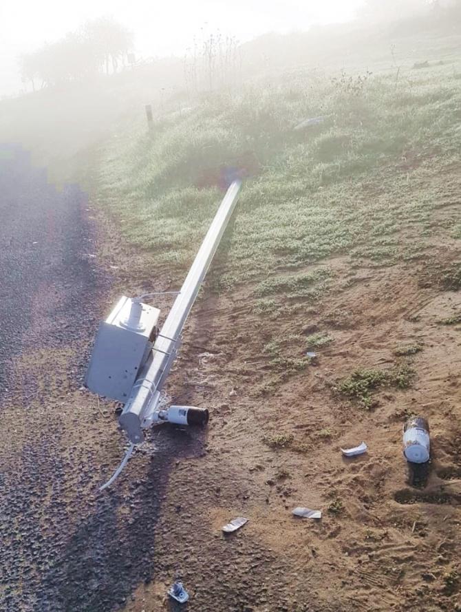 Tekirdağ'da köy güvenlik kameraları devrildi