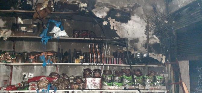 Alaçam'da iş yeri yangını