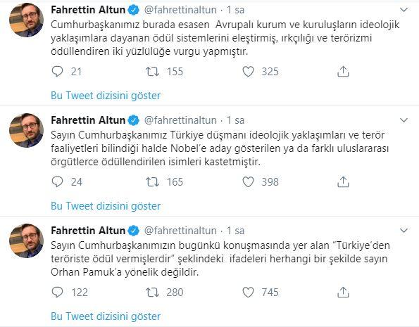 İletişim Başkanı Altun'dan Orhan Pamuk açıklaması