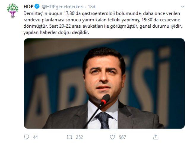Selahattin Demirtaş'ın gece saatlerinde hastaneye kaldırıldığı iddialarına HDP'den açıklama!