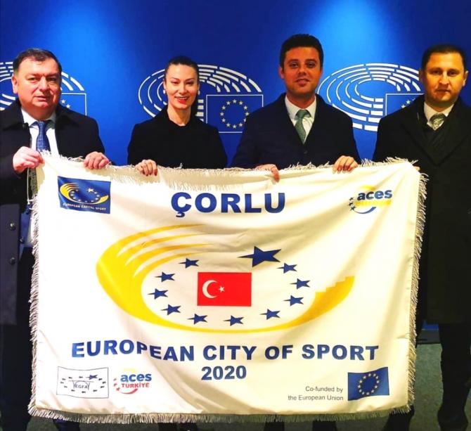 Çorlu 2020 Avrupa Spor Kenti unvanını teslim aldı