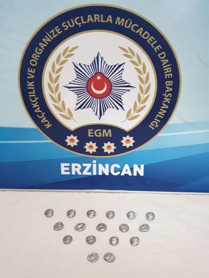 Erzincan'da Roma dönemine ait tarihi sikke ele geçirildi