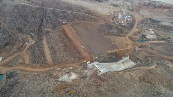 Akpınar Neşet Ertaş Barajı'nda çalışmalar devam ediyor